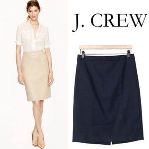 J. Crew Navy Pencil Skirt in Superfine Cotton